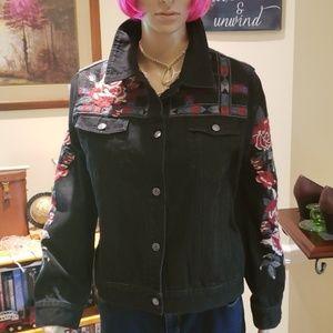 Johnny Was black denim embroidered jacket euc L